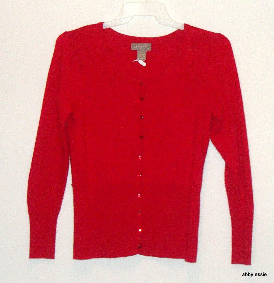 KENAR RED 100% ITALIAN MERINO WOOL CARDIGAN SWEATER LARGE [12 14] LT-2718