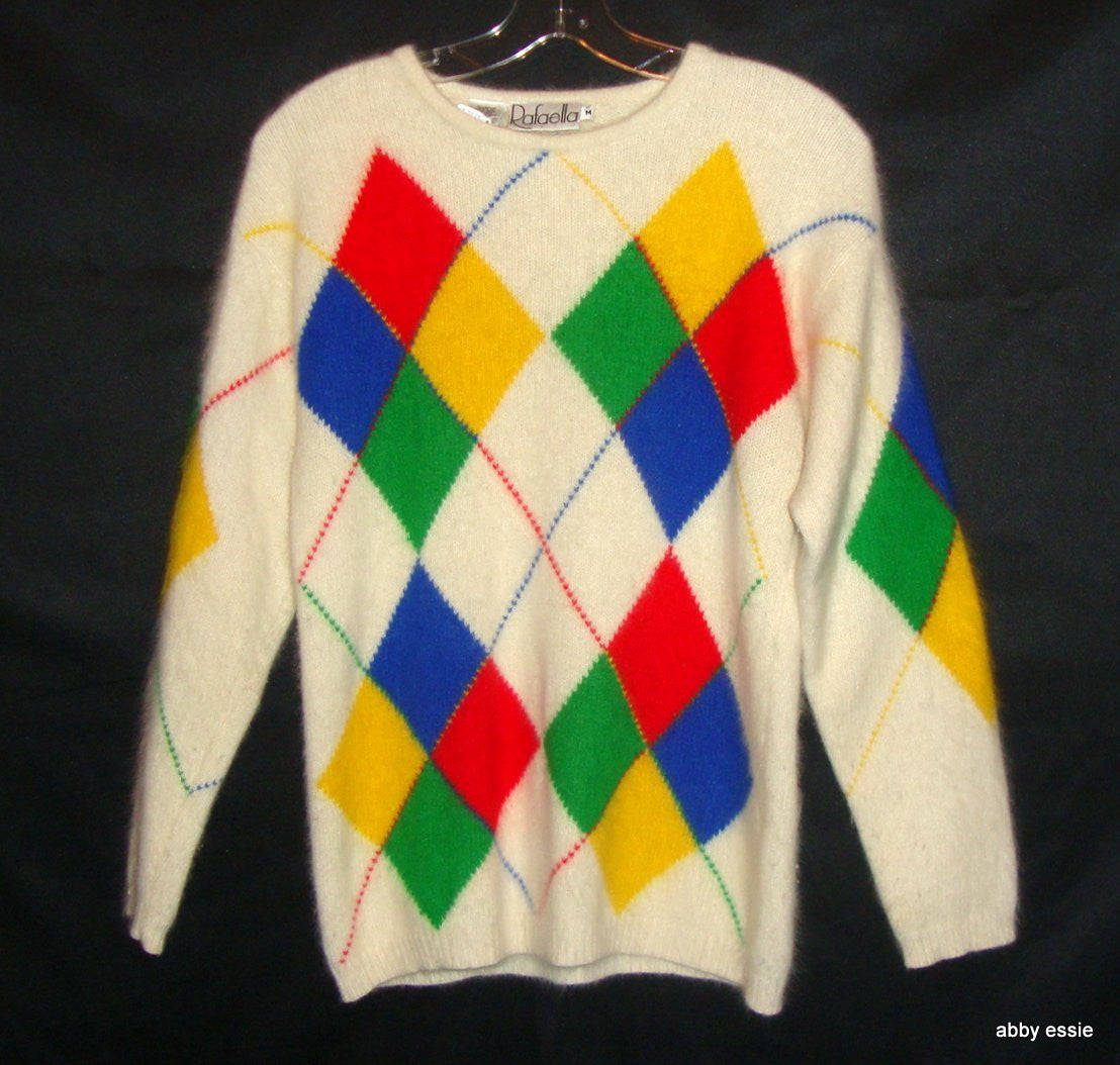 Vintage Rafaella Cream White Red Blue Yellow Rabbit Hair Sweater