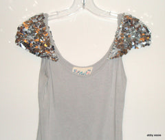 FAITH GRAY SEQUIN SHOULDER KNIT STRETCH COCKTAIL CLUB CASUAL TANK SMALL LT-2736