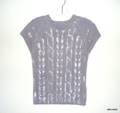 UNBRANDED GRAY SILVER PAINTED GRAFFITI SHORT SLEEVE SWEATER S XS LT-2765