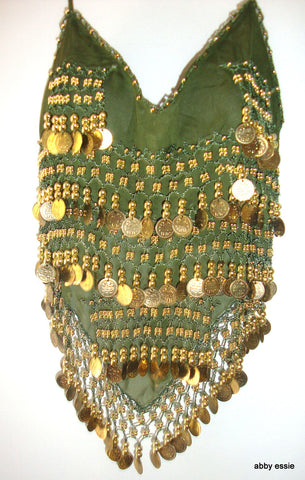 EXOTIC BEADED COIN GREEN BELLY DANCING SILKY CHIFFON HALTER TANK SZ Small
