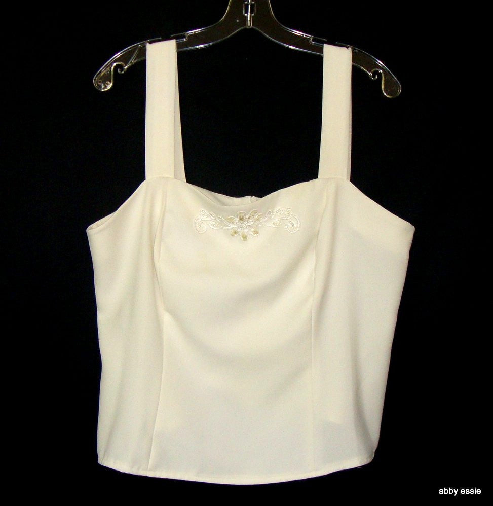 CREAM WHITE BEADED COCKTAIL DRESSY FORMAL TANK 14 LARGE LT-2828