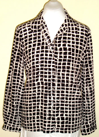 Vintage August Silk White W/ Black Squares Blouse Size Medium 100% Silk