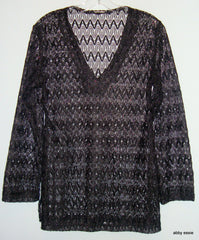 DESIGNER BLACK METALLIC SHEER KNIT LACE BEACH CRUISE VACATION TUNIC TOP SMALL