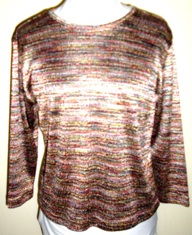 Vintage Multi-Color Iridescent Knit Top, Long-Sleeve