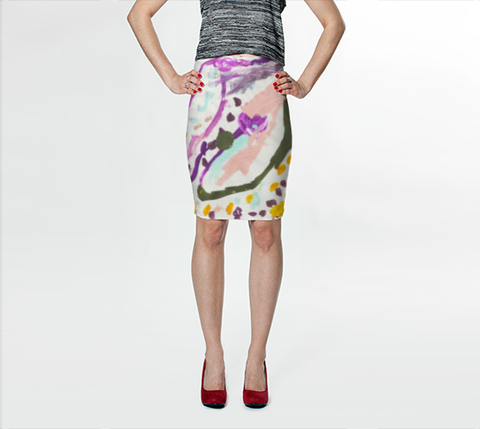 Lil B for Suga Lane Ballet Flowers Abstract Pink Green Stretch Pencil Skirt