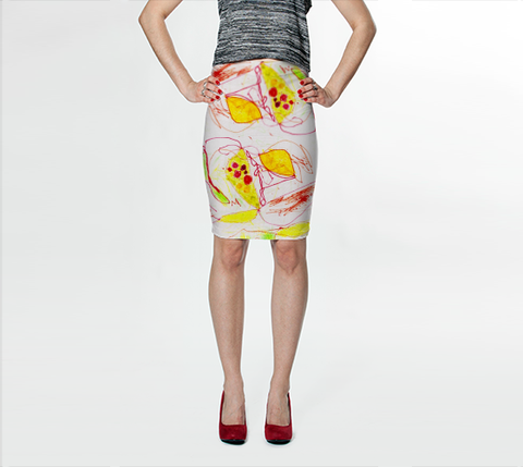 Lil B for Suga Lane Ballet Shoes Abstract Yellow Orange Stretch Pencil Skirt