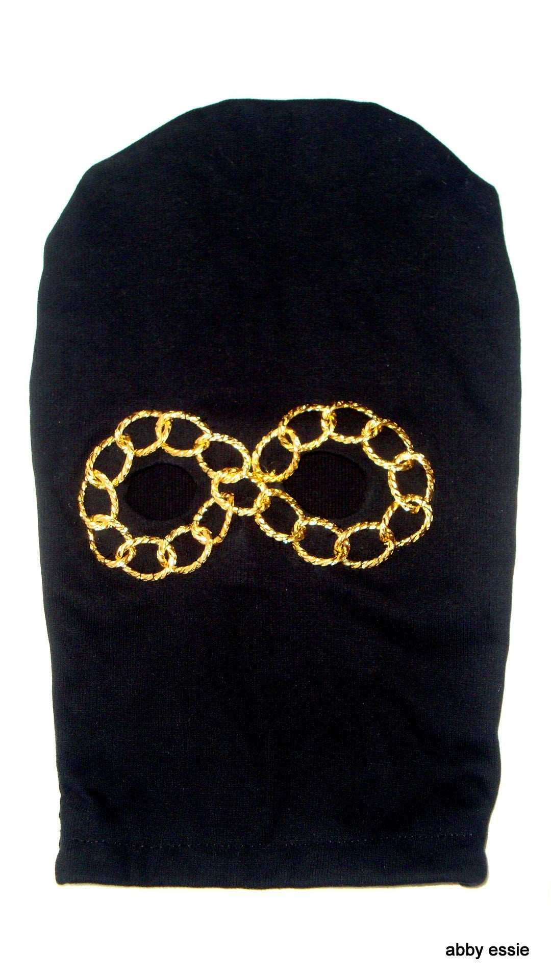NEW HIP HOP ROCK STAR METAL BAND BLACK KNIT GOLD CHAIN EYE SKI MASK COSTUME HAND