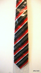 "NEW BLACK RED WHITE DIAGONAL STRIPED SILK TIE HONG KONG 100% SILK HANDMADE 4"" WIDTH"