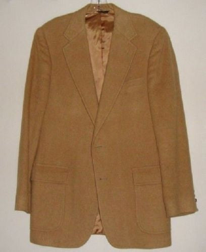 VINTAGE MENS CLASSIC CAMBRIDGE TAN 100% CAMEL HAIR BLAZER JACKET XL EXCELLENT