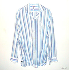 GAP MENS CLASSIC BLUE, WHITE, GRAY STRIPED DRESS SHIRT SZ LARGE  [100% COTTON]