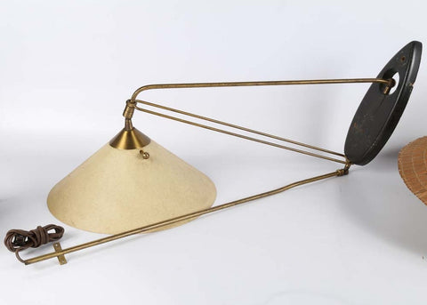 Mid-Century Modern Scandinavian Wall Mount Swing Lamp With Brass & Fiberglass