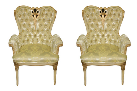 French Rococo Hollywood Regency Tufted Gold Arm Chairs - a Pair
