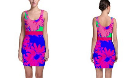 Suga Lane Tropical Floral Pink Blue Mint Sleeveless Cocktail Dress
