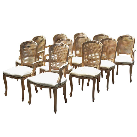 French Provincial Louis Cane Dining Chairs - Set of 10