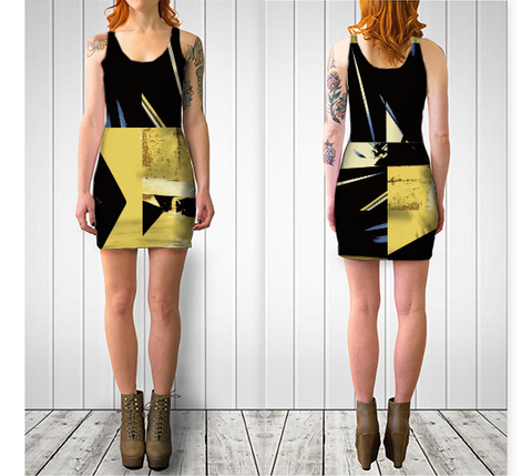 Suga Lane Angles Yellow Black Stretch Cocktail Pencil Dress