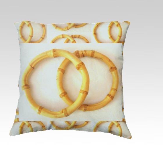 Suga Lane Bamboo Rings Tan White Pillow 22 x 22