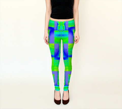 Suga Lane Bling Jet Medley Neon Green Yellow Leggings