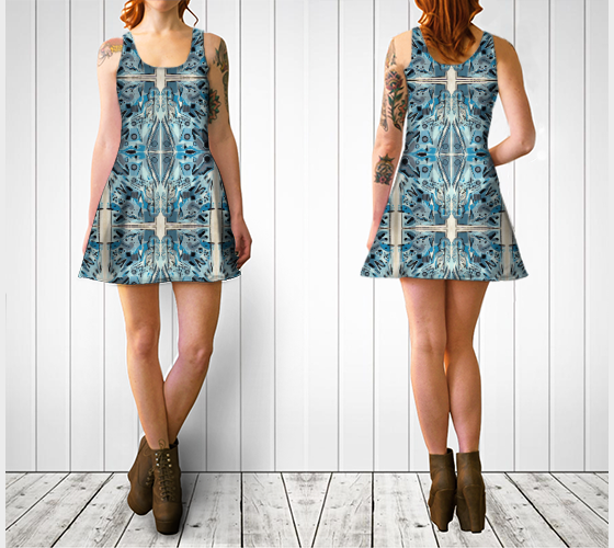 Suga Lane Blue Lady Abstract Flare Dress