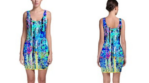 Suga Lane Captive Forest Blue Black White Yellow Sleeveless Cocktail Dress