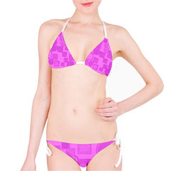 Suga Lane Choices Modern Geometric Pink Purple Bikini Swimsuit