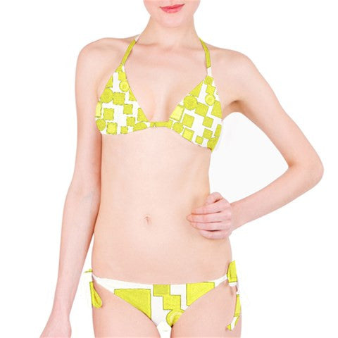 Suga Lane Choices Yellow White Bikini Swimsuit