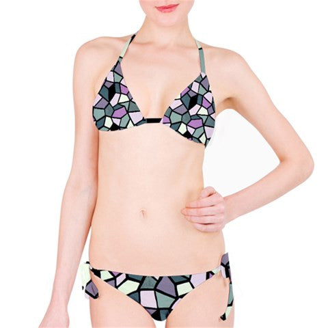 Suga Lane Dimensions I Geometric Stained Glass Pink Gray Black Stained Glass Bikini