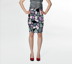 Suga Lane Dimensions Stained Glass Black Pink Gray Stretch Pencil Skirt