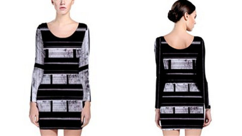 Suga Lane Dirty Lil Secrets Gray Black Striped Long Sleeve Cocktail Dress