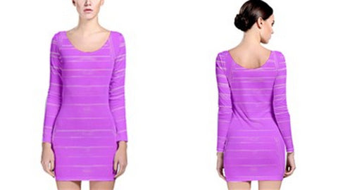 Suga Lane Distressed Stripe Lavendar Purple Long Sleeve Cocktail Dress