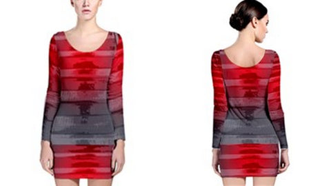 Suga Lane Distressed Stripe Red Gray Long Sleeve Cocktail Dress