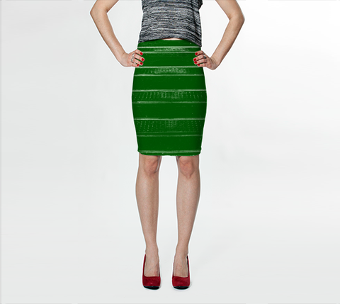 Suga Lane Distressed Stripes Dark Green Stretch Pencil Skirt