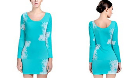 Suga Lane Dreams Turquoise White Long Sleeve Stretch Dress
