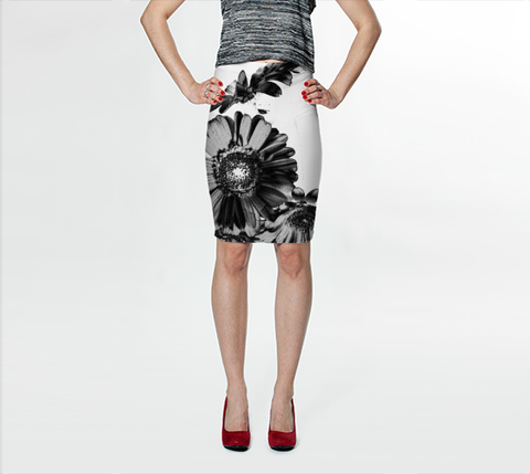 Suga Lane Floral Crow Black White Stretch Pencil Skirt