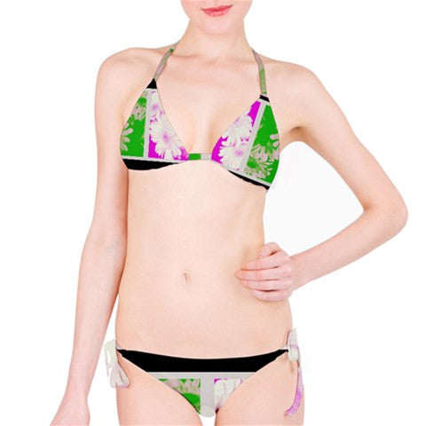 Suga Lane Floral Delights Green Purple White Black Bikini Swimsuit