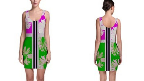 Suga Lane Floral Delights Pink Green Black Stripe Sleeveless Cocktail Dress