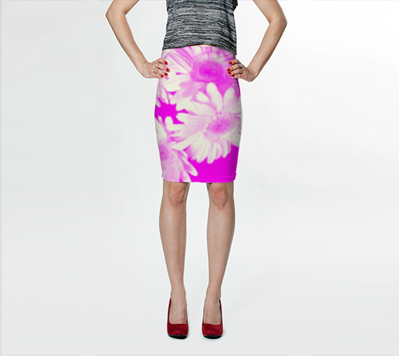 Suga Lane Floral Delights Pink White Stretch Pencil Skirt