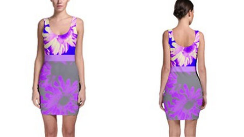 Suga Lane Floral Delights Violet Purple Gray Sleeveless Cocktail Dress
