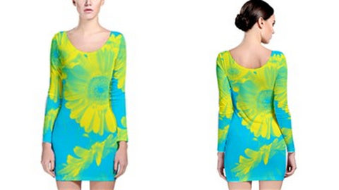 Suga Lane Floral Delights Yellow Turquoise Long Sleeve Cocktail Dress