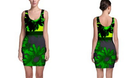 Suga Lane Floral Deviant Neon Lime Green Gray Sleeveless Cocktail Dress