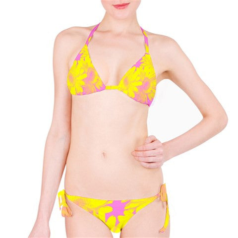 Suga Lane Floral Delights Pink & Yellow Bikini Swimsuit