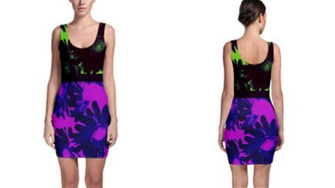 Suga Lane Floral Deviant Purple Blue Neon Green Sleeveless Cocktail Dress