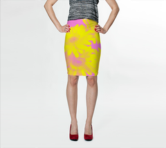 Suga Lane Floral delights Pink Yellow Stretch Pencil Skirt