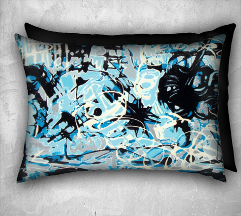Suga Lane Storm Abstract Hand Painted Print Blue Black 20 x 14 Pillow
