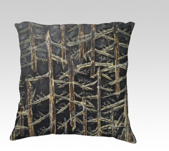 Suga Lane Golden Forest Hand Painted Print Black Gold Yellow 22 x 22 pillow
