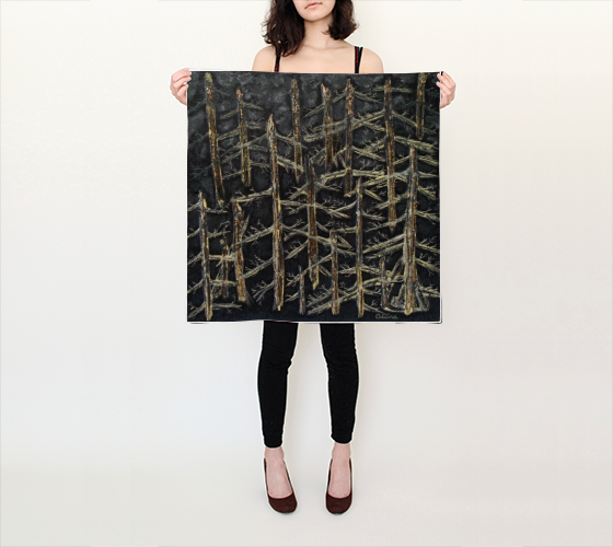 Suga Lane Golden Forest Black Gold Yellow Silk Scarf