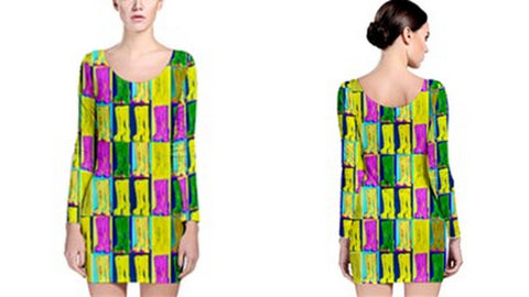 Suga Lane Goth Boots Neon Yellow Purple Green Long Sleeve Cocktail Dress