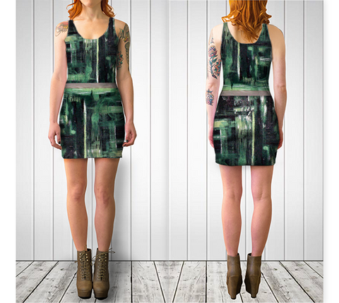 Suga Lane Terra Verde Green Abstract Stretch Cocktail Dress