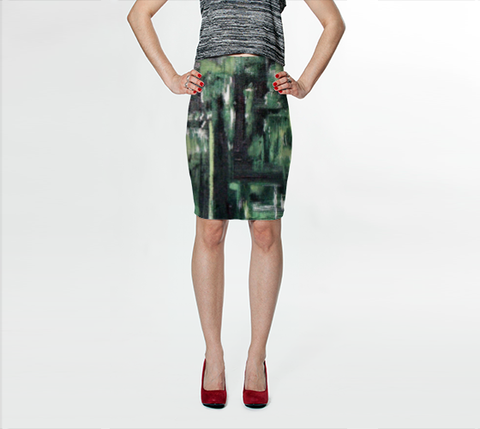 Suga Lane Terra Verde Mid-Century Painting Green Abstract Pencil Skirt