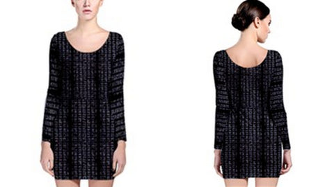 Suga Lane Grid Matrix Black Gray Long Sleeve Cocktail Dress